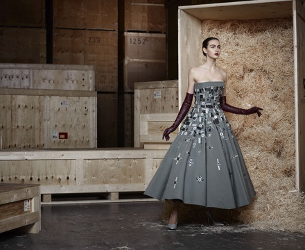 Claes Iversen, Strapless grey interlock eveningdress, 2014
