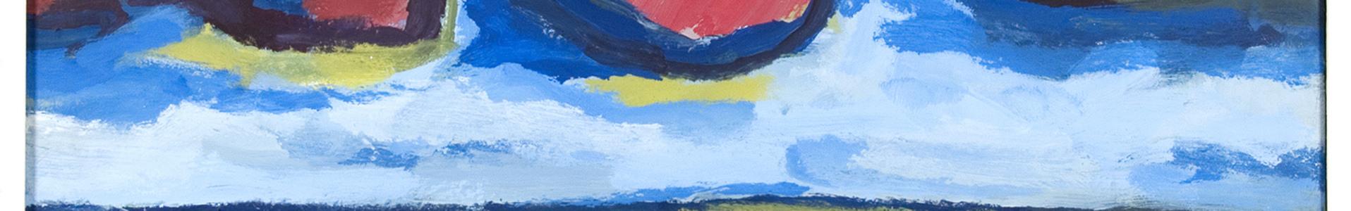 landschap met rode wolken