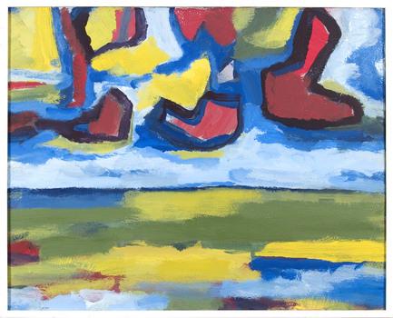 landschap met rode wolken, 1969, olieverf op doek, AG Benner, collectie provincie Fryslân