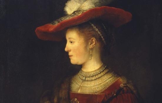 Rembrandt van Rijn, Saskia en profil in rijk gewaad, 1633-1642, olieverf op paneel. Museumslandschaft Hessen Kassel, Gemäldegalerie Alte Meister, Kassel