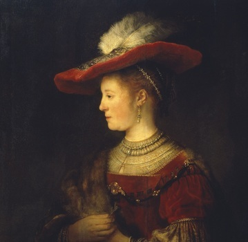 Rembrandt van Rijn, Saskia en profil in rijk gewaad, 1633-1642, olieverf op paneel Museumslandschaft Hessen Kassel, Gemäldegalerie Alte Meister